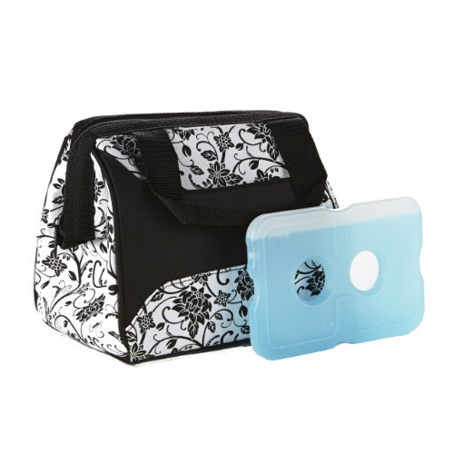 Insulated Lunch Bag with Ice Pack, Exterior Pocket with Zipper Closure