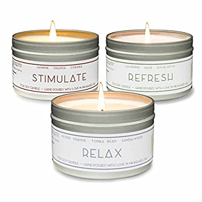 Gold Wave Goods Scented Candles – Relax (Blood Orange/Sandalwood), Refresh (Eucalyptus), Stimulate (Jasmine) – Natural Soy Wax Aromatherapy 8 oz Candles, 3-Pack, Made in USA - 【YOUR PERFECT CANDLE】 - Our soy candles are perfect for any addition to any home. We strive to create fragrances that add to the room and improve your quality of life. 【HOW IT SMELLS】- Relax: Top Notes: Blood Orange, Middle Notes: Golden Amber, Clary Sage, Tonka Bean, Base Notes: Sandalwood, Teakwood Refresh: Top Notes: Eucalyptus, Herbal, Middle Notes: Rose, Oakmoss, Grapefruit, Base Notes: Blonde woods, Amber, Sandalwood Stimulate: Top Notes: Jasmine, Middle Notes: Lavender, Orange, Base Notes: Fir, Balsam, Patchouli 【OUR QUALITY】 - Our candles are made from the highest quality, domestically grown GMO free 100% natural soy wax and high quality essential oils and fragrance oils. The attention to natural material and small-batch production ensures a consistent and high quality end product. - living-room-decor, living-room, candles - 51Sh9bIznYL. SS400  -