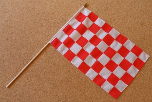 1000 Red and White Check Checkered Large Hand Flag - Sleeved Polyester Flag on 2 Foot Wooden Stick ()