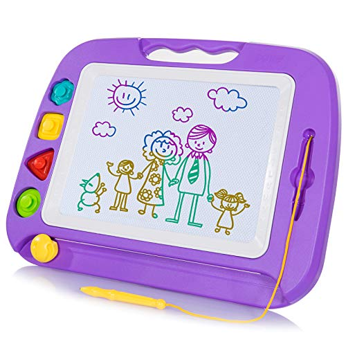 SGILE Magnetic Drawing Board Toy for Kids, Large Doodle Board Writing Painting Sketch Pad, Random Color Stamps
