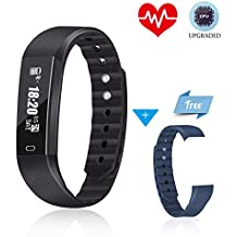 Fitness Tracker Mousand 2018 Upgraded Fitness Watch Activity Tracker Heart Rate Monitor Watch IP67 Waterproof for Sleep Monitor Pedometer Step Calorie Counter SMS Call Sedentary Remind for Android IOS