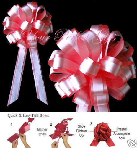 SOFT RED ROSE WHITE WEDDING 8'' PULL PEW BOW BRIDAL GIFT