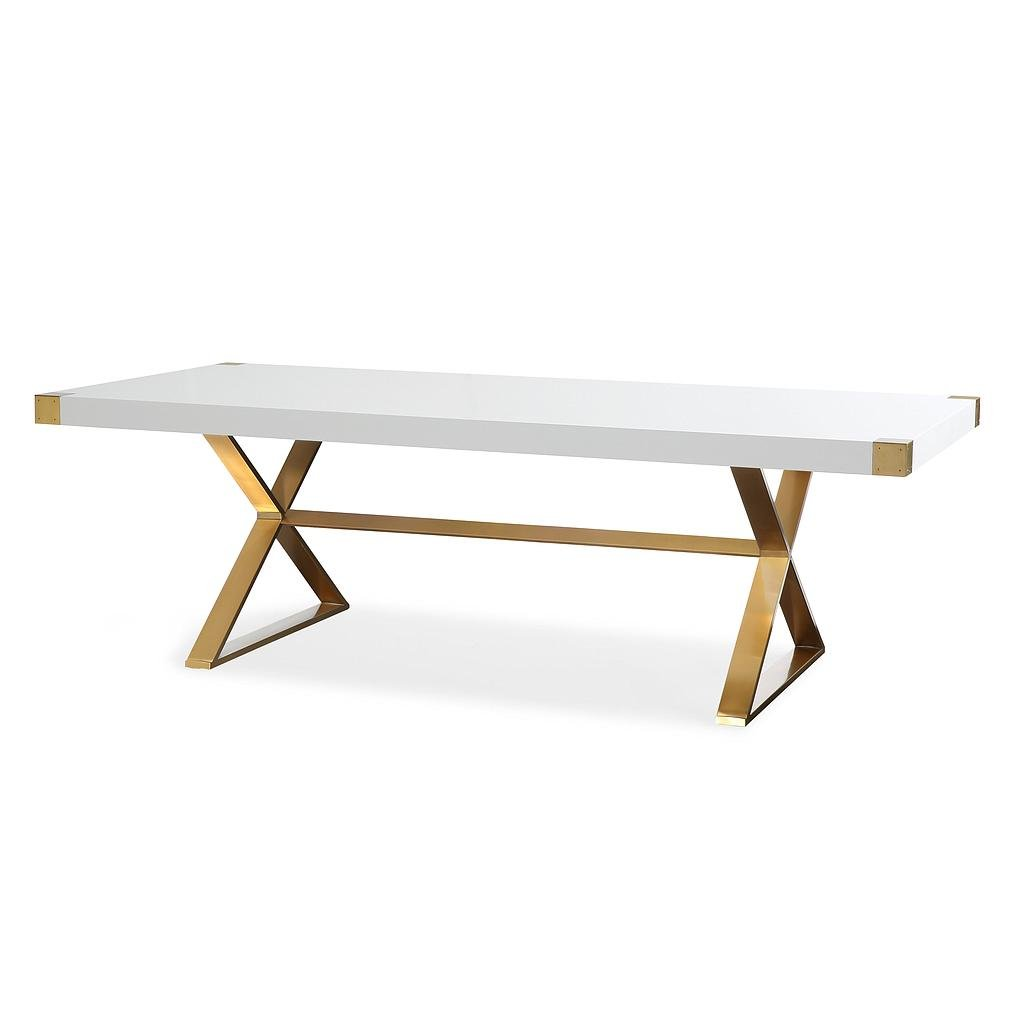 TOV Furniture The Adeline Collection Modern Handcrafted Lacquer Finished Wood & Stainless Steel Dining Table, White by Tov Furniture