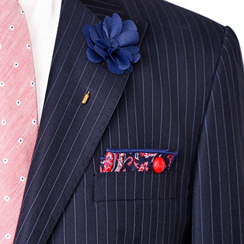 Navy Blue Red /& White Paisley Men/'s Pocket Square by The Detailed Male