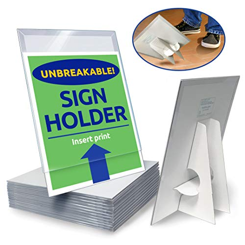 (Paper Sign Holder (25 Pack) Plastic 8.5-x-11-inch Countertop Display w/Shatterproof (No Acrylic) Clear Cover w/Cardboard Easel Back Ship-Flat Portable Tabletop Sign Frames by Hutchco)