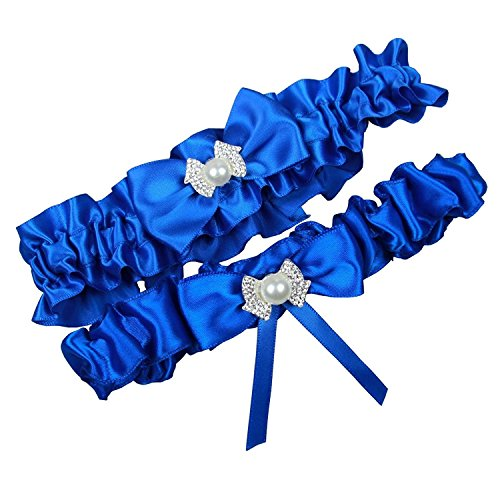 MerryJuly Royal Blue Wedding Bridal Garter Belt Set Plus XXL(24-28 inch)