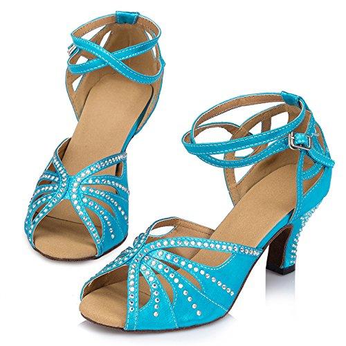 Abby By-ld025 Womens Latin Tango Schoenen Ballroom Dans Feest Bruiloft 6cm Wijd Uitlopende Hak Peep-toe Satijn Dansschoenen Blauw
