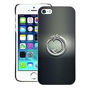 For iPhone 5 / 5S Case , White Tribal Dragon - Diseño Patrón Teléfono Caso Cubierta Case Bumper Duro Protección Case Cover Funda