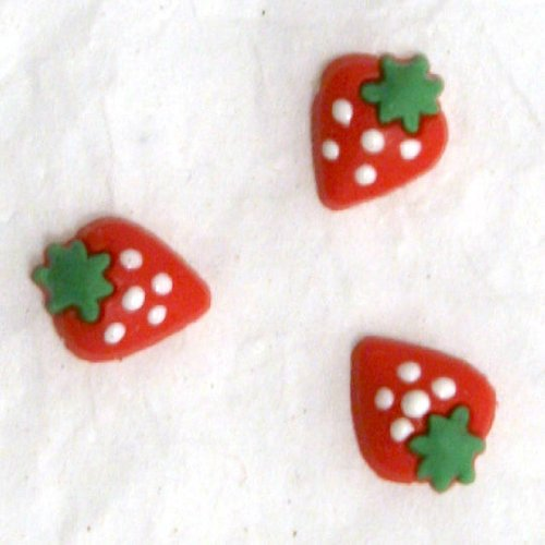 Zink Color Nail Art Red Soft Ceramic Strawberry 3Pc Cell Phone Embellishment