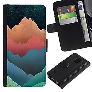"A-type (Tonos modelo montaña"") Colorida Impresión Funda Cuero Monedero Caja Bolsa Cubierta Caja Piel Card Slots Para Samsung Galaxy S5 V SM-G900"