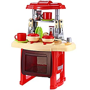 Kids Simulation Kitchen Cookware Pretend Role Play Toy with Music Light (RED)