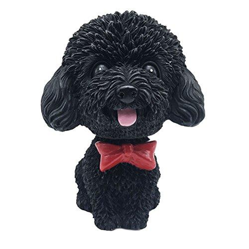 IBWell Mini Bobbing-Head Dog for Car Dash Board Decor,Dashboard Doggy Puppy Teddy Toy with Adhesive Tab(Poodle) (Black A) ()