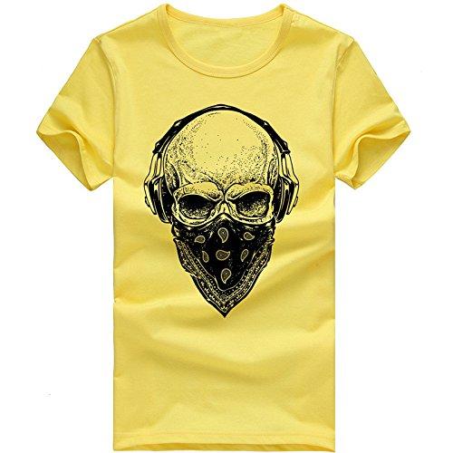 970666d87d444 Camiseta de Manga Corta para Hombre Moda Estampado con Calaveras Cuello  Redondo Slim Fit T-Shirt de Verano Cómodo Transpirables Deportivo Casual  Jogging ...