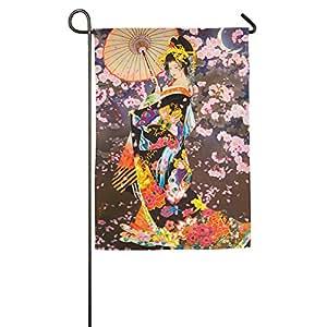 Arte japonés Geisha Girl jardín bandera banderas decorativa para interior y exteriores para desfile deportivo juego fiesta familiar pared pancarta,