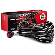 Nilight NI-WA 07 LED Light Bar Wiring Harness Kit 14AWG Heavy Duty 12V On-off Switch Power Relay Blade Fuse for Off Road LED Work Light Bar - ONE Lead,2 Years Warranty