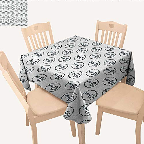 longbuyer Anchor Table Cover Vintage Dark Blue Ship Anchors Framed by Round Chain Borders Marine Design BBQ Tablecloth Dark Blue White W 36