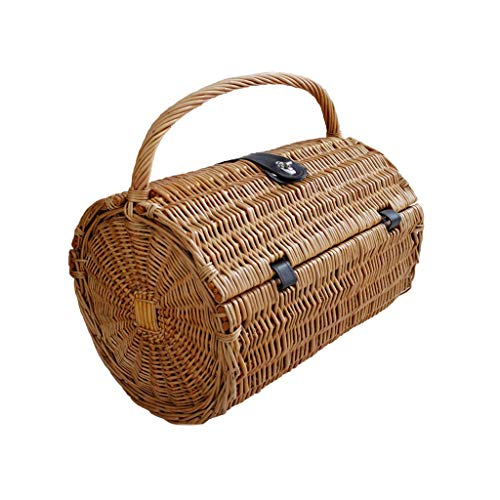 Outdoor Wicker Handkerchief Tableware Card Picnic Basket Fruit and Vegetable Woven Basket with Lid Picnic Basket