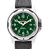 Timex Men's T49451 Expedition Rugged Field Shock Analog Green Nylon and Black Leather Strap Watch
