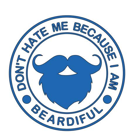 Home Grown Claremore Don't Hate Me Because I Am Beardiful Vinyl Sticker (Blue, 5.5