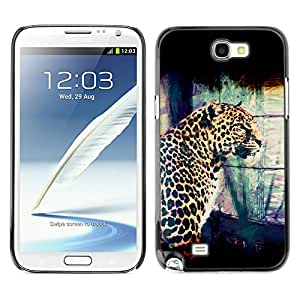 Qstar Arte & diseño plástico duro Fundas Cover Cubre Hard Case Cover para SAMSUNG Galaxy Note 2 II / N7100 ( Leopard Spots Dots Big Cat Wild Portrait Art)