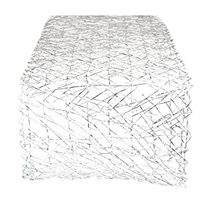 Christmas Tablescape Decor - Modern and Chic Silver Metallic Woven Paper Table Runner for Holidays, Special Occasions, and Everyday Décor