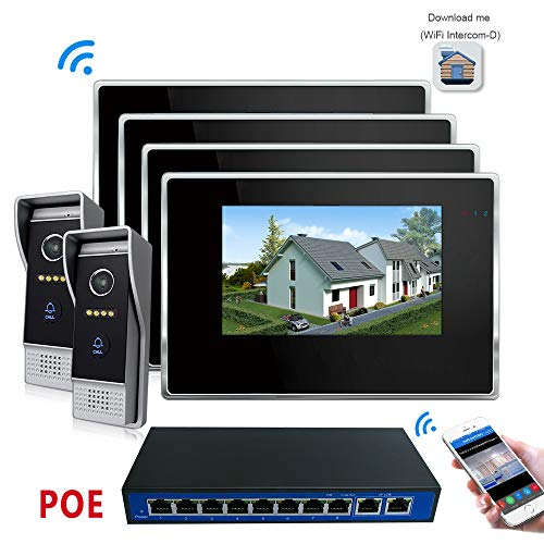 IP Video Doorbell Intercom with 4X Wireless Montior and 2X Wired Doorbell Camera, Night Vision and Remote Unlock + POE Function