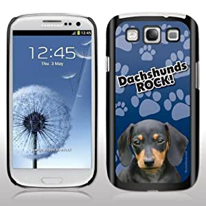 Samsung Galaxy S3 Case - Dog Breed Themed - Dachshunds Rock - Black Protective Hard Case by Maris's Diary