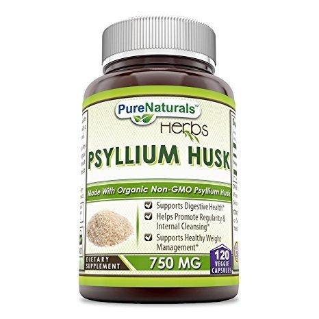 Pure Naturals Psyllium Husk - 750 mg Platango Ovata Fiber Capsules - Gentle...