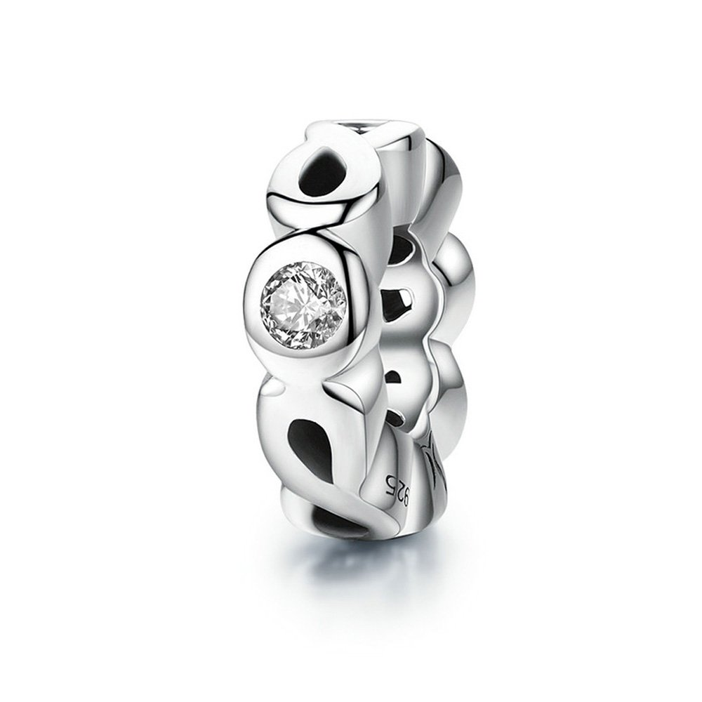 The Kiss Starshine Daisies Dazzling Daisies Forget Me Not Infinity Love Pave Clear CZ Spacer 925 Sterling Silver Bead Fits European Charm Bracelet SPACER01