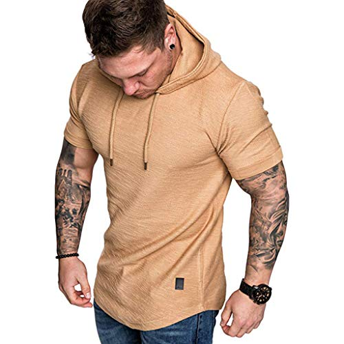 2019 Newest Short Sleeve T-Shirt for Mens Casual Slim Fit Hoodie Top Summer Boy O-Neck Pleats Raglan Cotton Blouse ()