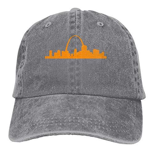 St Louis Arch Men's Women's Adjustable Jeans Baseball Hat   Denim Fabric Hip-hop Cap Gray (Gateway Arch Patch)