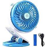 Portable USB Rechargeable Fan EleeFun Battery Operated Clip on Fan Baby Stroller Clip on Fan Quietness Adjustable Mini Table Personal Fan Blue