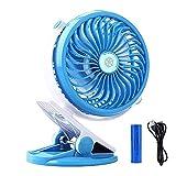 Image of Portable USB Rechargeable Fan EleeFun Battery Operated Clip on Fan Baby Stroller Clip on Fan Quietness Adjustable Mini Table Personal Fan Blue