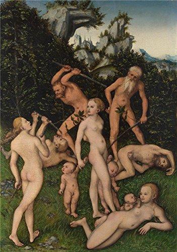 Oil painting `ルーカスCranach the Elder The Perfect Effectキャンバスにシルバーの時代の閉じ`印刷、24x 34インチ/ 61x 87cm、最高の地下室アートワークとホームギャラリーアートとギフトはこのアート装飾プリントキャンバスの商品画像