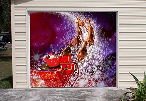 Decorations of House Garage Billboard Christmas Santa Murals for Single Car Garage Covers Merry Christmas Full Color Holiday Door Decor 3D Effect Print Banner Size 83 x 96 inches DAV108