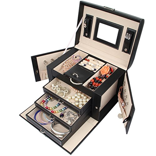 Homde Jewelry Box Necklace Ring Storage Organizer Synthetic Leather Large Jewel Cabinet Gift Case (Black) by Homde (Image #2)