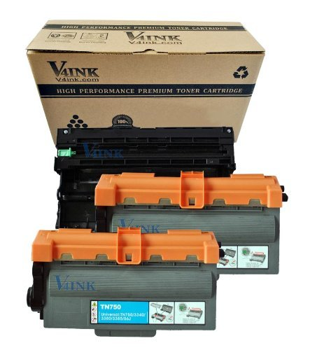 V4INK ®(1 Drum + 2 Toner) New Compatible Brother DR720 + TN750 Compatible Drum Unit and Toner cartridge for Brother HL-5400 Series/HL-6100 Series/DCP-8110 Series Toner Printers, Office Central