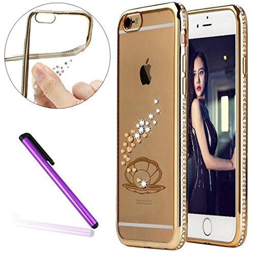 Diamond Frame Case for iPhone 6S Plus,iPhone 6 Plus Cover, EMAXELER Bling Swarovski Crystal Rhinestone Case,Plating Frame Flexible TPU Case for iPhone 6 Plus/6S Plus(5.5
