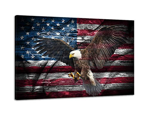 Retro American Flag Bald Eagle US Military Wall Art Canvas Prints Thin Blue Red Line Home Decor Pictures for Living Room Bedroom Painting Framed Ready to Hang ()