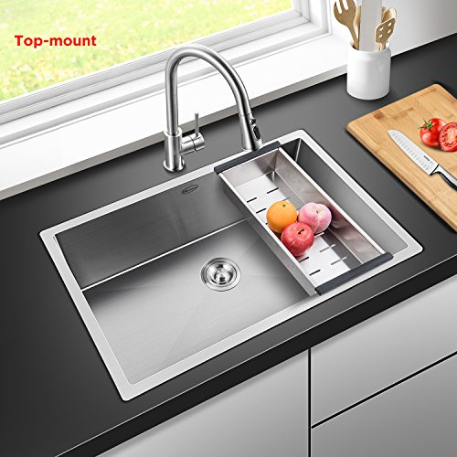 Harrahs 30 Inch Commercial Undermount Single Bowl Stainless Steel Kitchen  Sink Outer Lip Thickness 11 Gauge Basin Thickness 18 Gaugeu2026, 30.2x18.4x10.0  Inch, ...
