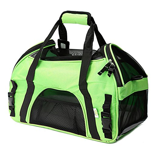 Green Outdoor Bag Travel & Storage Bags Laliva® Breathable Pet Dog Cat Carrier Tote Shoulder Bag Handbag with Reflective Strip (color  Green)
