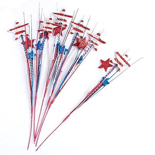 for Indoor Decor Factory Direct Craft Patriotic Metallic Sequined Stars and Stripes Decorative Sprays 6 Sprays Berries