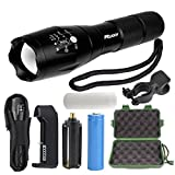 Ruixy T6A High Powered Tactical Flashlight - Ultra Bright LED Handheld Flashlight - Portable Outdoor Water Resistant Torch with Adjustable Focus and 5 Light Modes for Camping Hiking etc