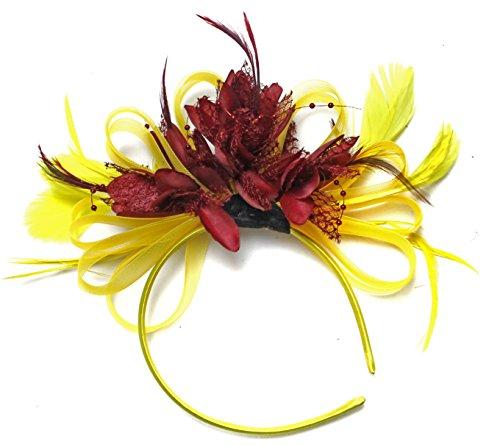 Jaune et rouge foncé bordeaux Cheveux Serre-tête bibi avec plume pour mariage Royal Ascot courses pour femme