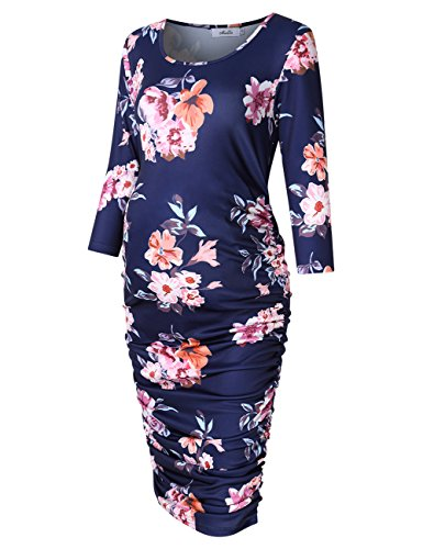 MissQee Round Neck Ruched Maternity Dress (M, Navy Blue Print)