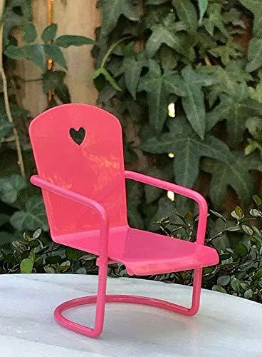 ShopForAllYou Figurines and Statues Miniature Dollhouse Fairy Garden Furniture ~ Mini Pink Heart Metal Glider Chair -