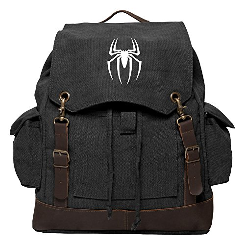 Spiderman Symbol Vintage Rucksack Backpack with Leather Straps, Black & Wh ()