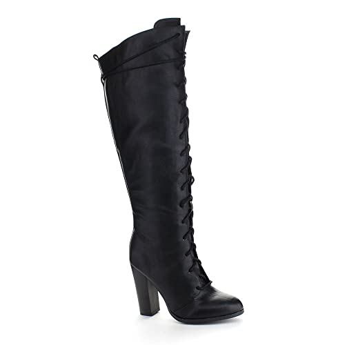 cb882f3e54d Qupid Reborn-20 Women s Almond Toe Lace Up Chunky Heel Combat Knee High  Boots