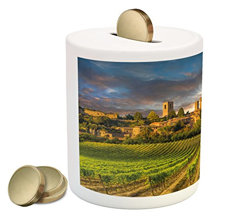 Ambesonne Italy Piggy Bank, Vineyards of San Gimignano Tuscany Historic Architecture Dramatic Sky Clouds, Printed Ceramic Coin Bank Money Box for Cash Saving, Green Apricot ()