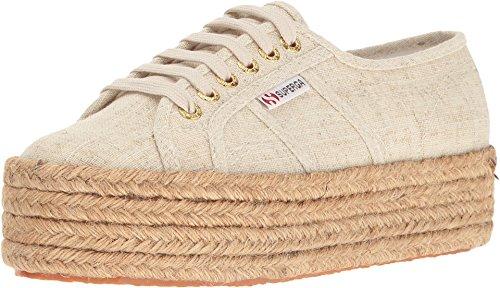 Superga Women's 2790 Linen Platform Espadrille Sneakers, Natural, 7.5 B(M) US